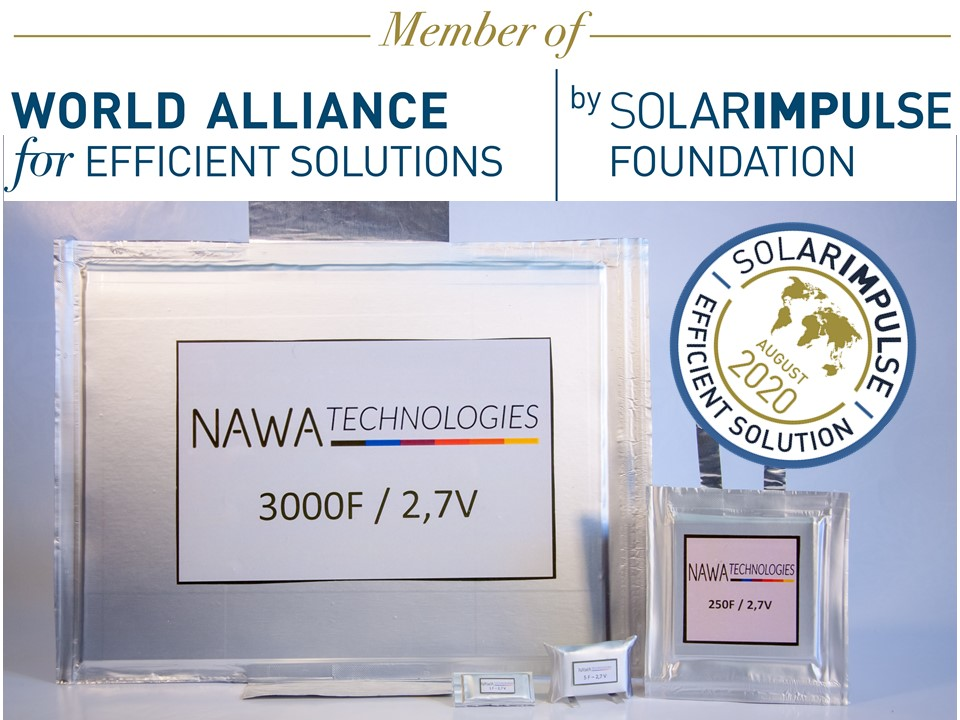 NAWA Technologies awarded Solar Impulse efficient solution label